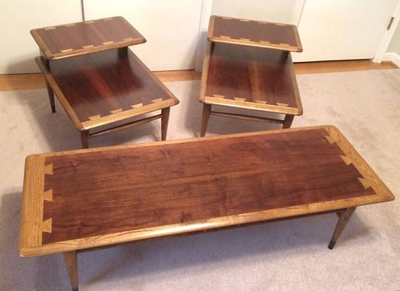 Mid-Century Lane Acclaim Wood Coffee Table & End Table Set Vintage Early 60s Danish Modern via EchoDecoModern on Etsy. #lane #midcentury #danishmodern #vintage #bohemian