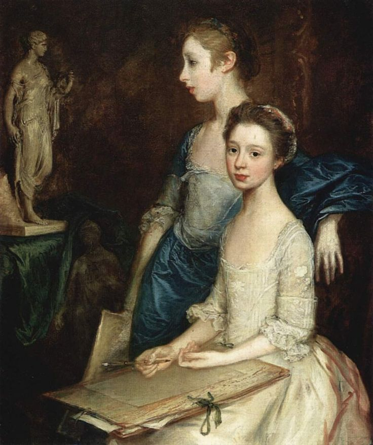 Portrait of the Artist's Daughters (about 1763-64). Thomas Gainsborough(British, 1727-88).Oil on canvas. Worchester Art Museum. Here...