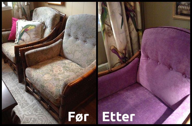 Før og etter omtrekking av eldre #stuemøbler. Kult med #lilla.