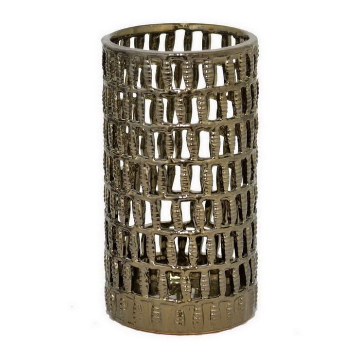 Benzara Bronze 12-inch Hurricane Candle Holder