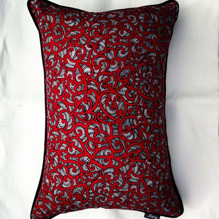 Maori fabric design Te Koripi Wae O Maui Red, lumbar 35x50 with black pipping @ $49.00 by lucy cushion co