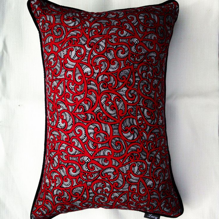 Maori fabric design Te Koripi Wae O Maui Red, lumbar 35x50 with black pipping @ $49.00 by lucy cushion co