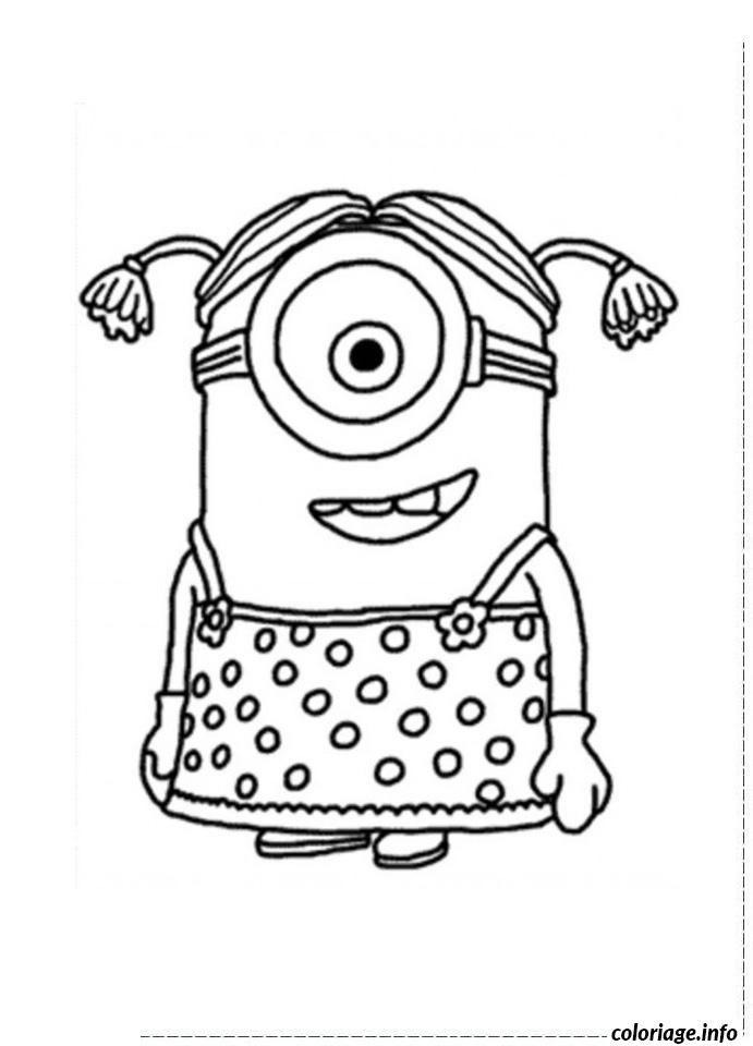 coloriage dessin minion fille un oeil dessin  u00e0 imprimer