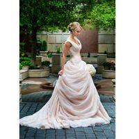 Румяна Розовые Свадебные Платья V Декольте линия Органзы Оборками Драпированные Элегантные Свадебные Платья Ruched Vestido Де Noiva 2016