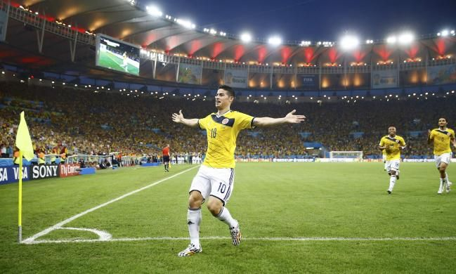 Colombia's James Rodriguez celebrates his goal against Uruguay during their 2014 World Cup round of 16 game at the Maracana stadium in Rio de Janeiro June 28, 2014. REUTERS/Kai Pfaffenbach