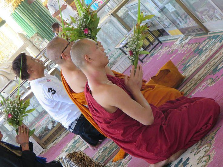 Buddhist Monks at Loka Chantha Abhaya Laba Muni Pagoda, Yangon, Myanmar