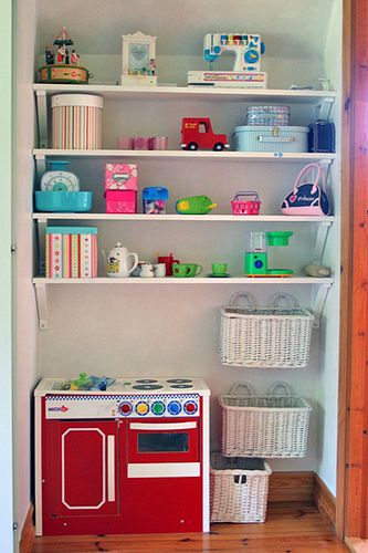 Add high shelves in girls closet. Also attach rod down lower for their clothes.