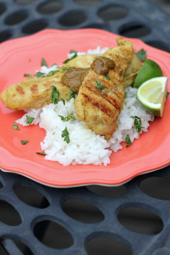 Grilled Coconut Lime Chicken with Coconut Rice - A Hint of Honey