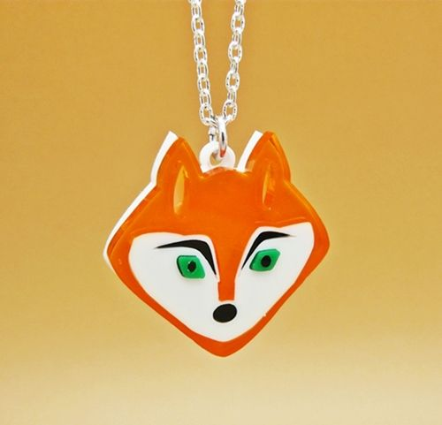 Double layered Deluxe laser cut Fox charm Necklace