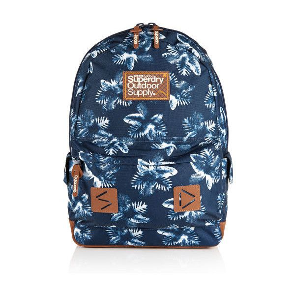 Superdry Hawaiian Stencil Montana Rucksack (€39) ❤ liked on Polyvore featuring bags, backpacks, navy, navy bag, superdry bag, strap backpack, blue bag and strap bag