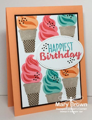 stampercamper.com - I just love this set and how you can just make such happy cards with it! It is so rainy and dreary here today I needed a bit of bright and happy! All the details on my blog. Set: Cool Treats