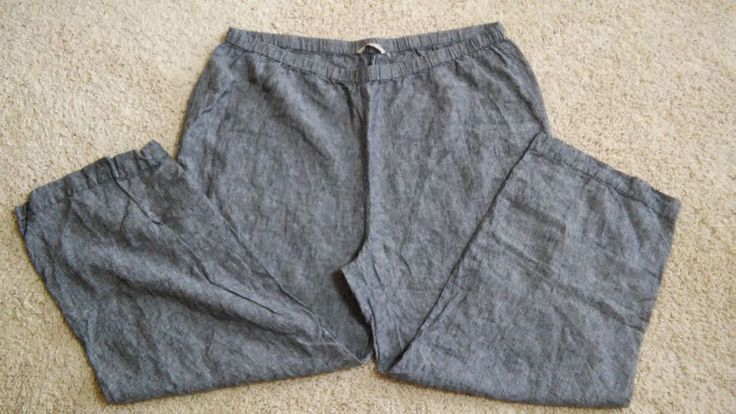 Soft Surroundings 2X Black/Gray Linen Pull-on Elastic Waist Pants Career Casual #softsurroundings #CasualPants