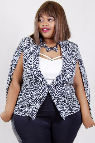 Plus Size Clothing for Women - Geometric Printed Cape by Sabrina Servance (Sizes 16 - 22) - Society+ - Society Plus - Buy Online Now!
