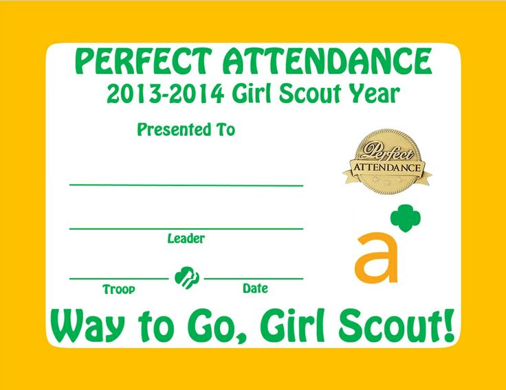 34 best Girl Scout Ambassador \ Certificates etc images on - free perfect attendance certificate template