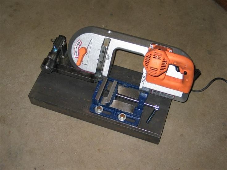 Cutoff Saw by Fishy Jim -- Homemade cutoff saw fashioned from a portable band saw and a drill press vise. http://www.homemadetools.net/homemade-cutoff-saw-3