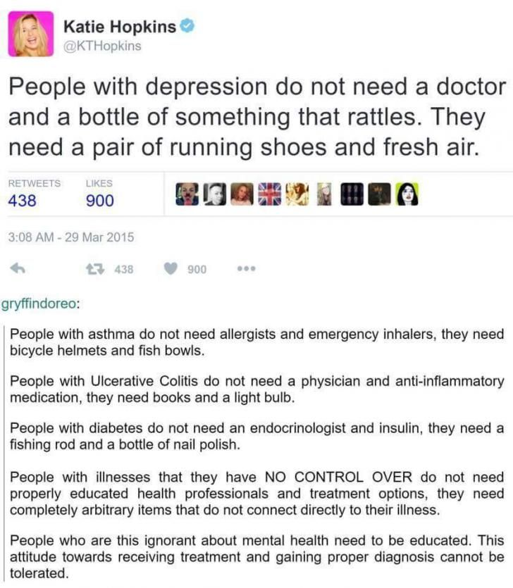 A cure for everything- while things like exercise and sunlight do help with depression, it is still an ILLNESS. It's caused by chemical imbalances which is why some people need to take medicine