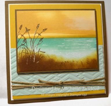 Stampin' Up! ... handmade card ... golden sky card by Michelle Zindorf ... shore scene ... great use of inking and masking ...