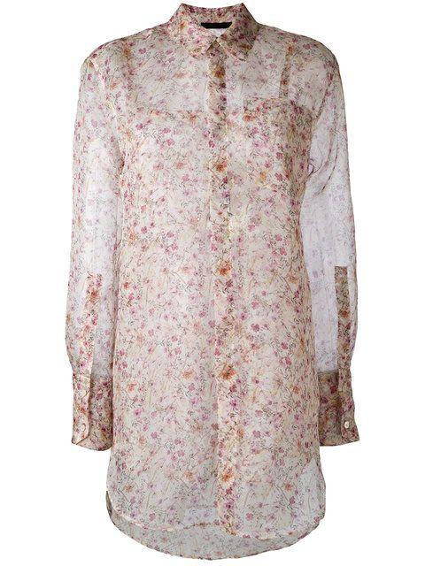Купить Calvin Klein полупрозрачная рубашка с цветочным узором.