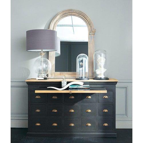 Lampe SYLPHIDE aus Glas mit Lampenschirm aus Baumwolle, H 77cm, schwarz