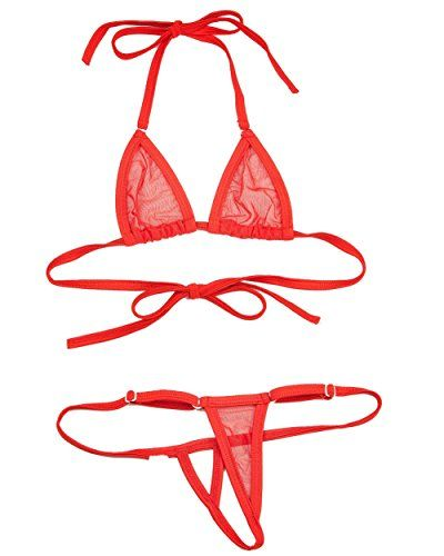 SkinBikini Women's Micro See-Thru Hollow Thong Bikini One-Size Red. Bottom has adjustable clip to fit most size small to large.