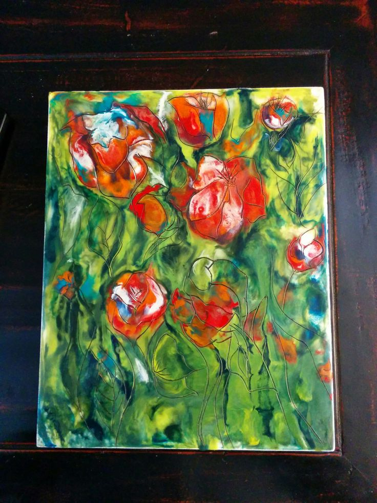 2016 Art Encaustic - Tulips .