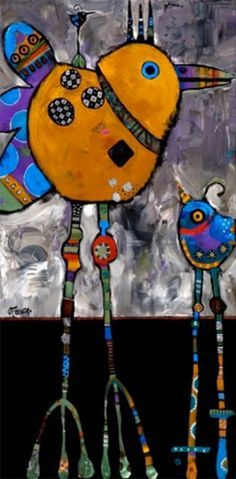 Fold stiff paper in half. Draw bird shape.  Cut.  Paint colorfully. Glue tail-feathers/curled paper. Glue feathers, sequins, etc on body. String beads on wire to make legs/feet.