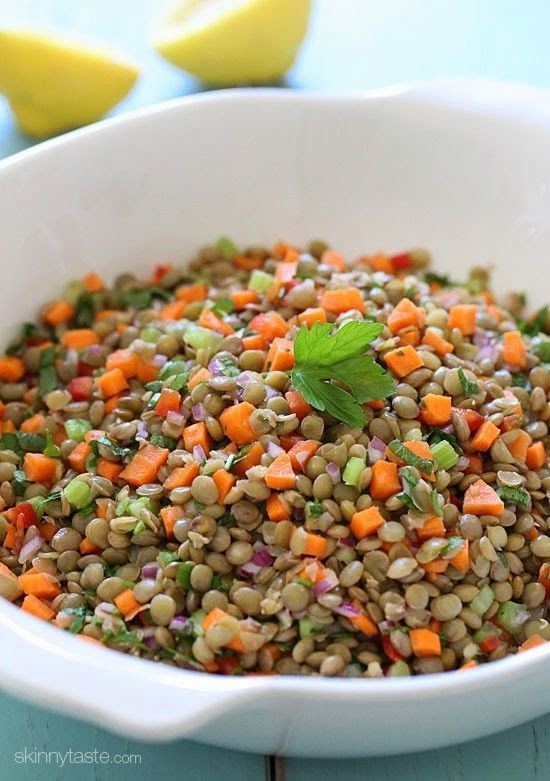 This healthy salad is made with cooked lentils and diced fresh diced carrots, celery, bell pepper, onion, parsley and lemon juice – perfect to make ahead for lunch for the week as the flavors only get better overnight. It's also vegan, high in fiber, protein and only about 100 calories per serving.