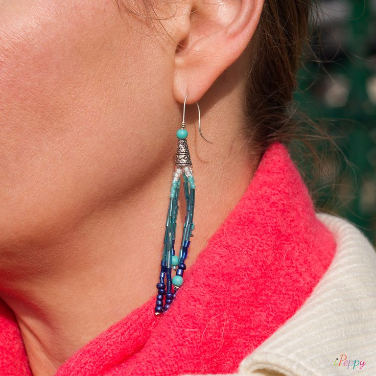Mix Match Earrings Turquoise // Earrings For Women // Turquoise Earrings // Mix Match Earrings // Tassel Earrings // Handmade Earrings #ipeppy #earrings #women #turquoise #blue #handmade #mixmatch #tassel #jewelry #triangle