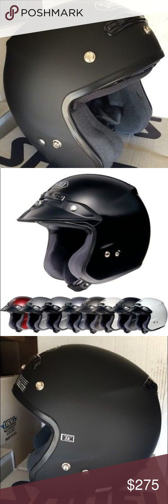 XS SHOEI RJ PLATINUM MATTE BLACK MOTORCYCLE HELMET XS SHOEI RJ PLATINUM R MATTE BLACK MOTORCYCLE HELMET  DOT/SNELL(M2005)   REMOVED FROM BOX FOR PICS  Standard Fully Removable Interiors   Lightweight, Advanced Integrated Matrix (AIM +)   Shell Snaps for aftermarket shields   Cheek pad slits for eyeglasses   Neck outlet Dual EPS liner 3D   Comfort liner Integrated spoiler   Removable GT visor Adjustable top and rear vents   Soft and Comfortable Shock-Absorbent liner Shoei Accessories Hats