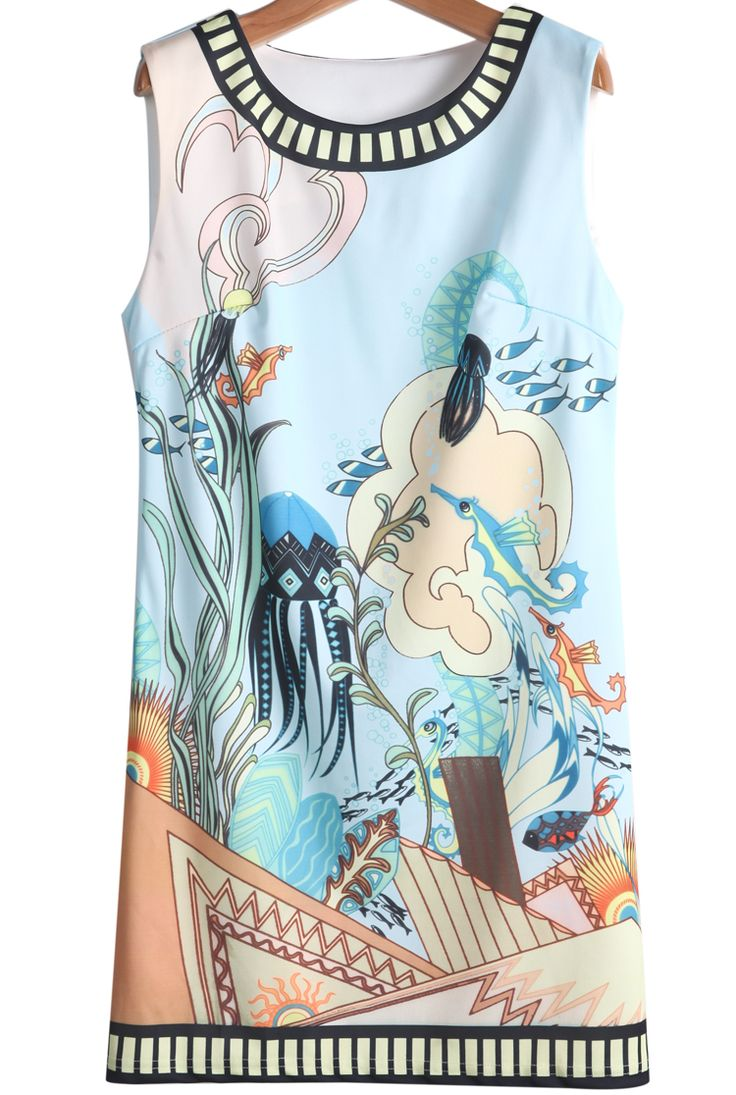 Blue Sleeveless Underwater World Print Dress US$20.79