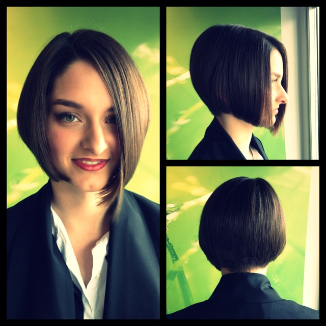 Classic graduated bob cut, blow dried with Joico Kpak Smoothing Balm and a Denman Brush.