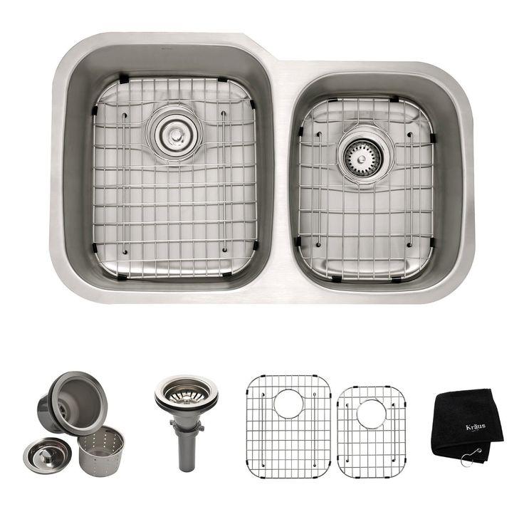 Kraus KBU24 32 inch Undermount 60/40 Double Bowl 16 gauge Stainless Steel Kitchen Sink - - Amazon.com