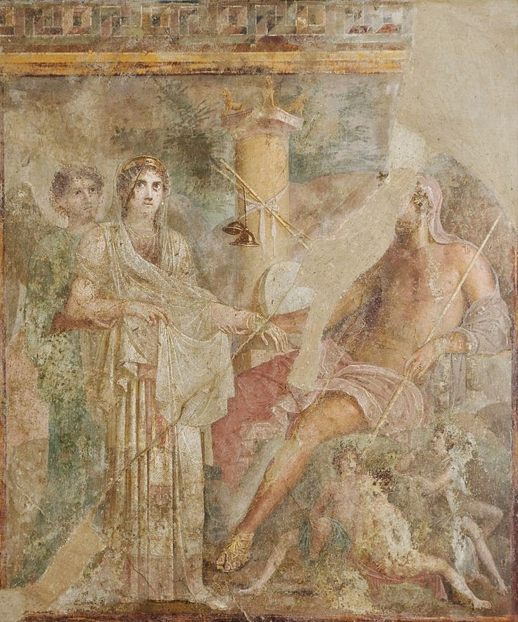 Fresco depicting the wedding of Zeus and Hera in the atrium of the House of the Tragic Poet in Pompeii. Image courtesy of. Wikimedia Commons.