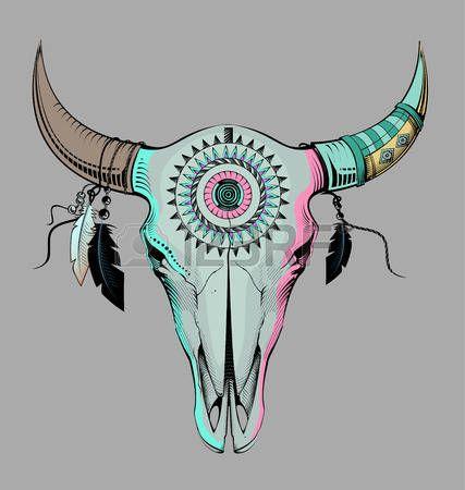 tete mexicaine: le style ethnique, crâne de taureau gravure illustration
