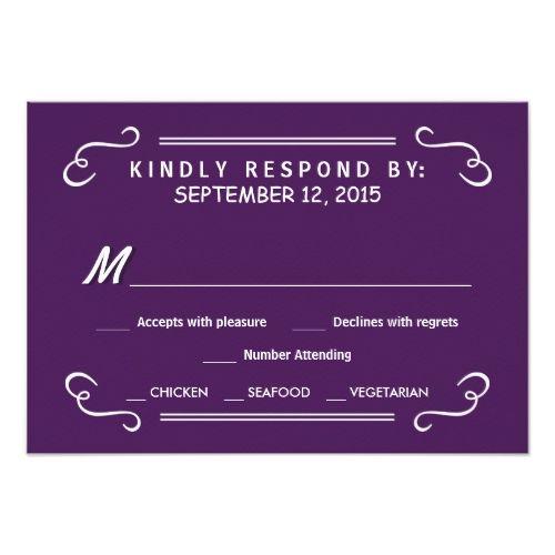 Purple RSVP Wedding Cards Eat Drink & RSVP Eggplant Purple Wedding Reply Card