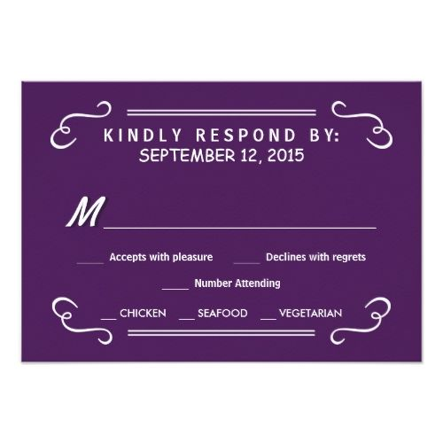 Purple RSVP Wedding Cards Eat Drink & RSVP Eggplant Purple Wedding Reply Card