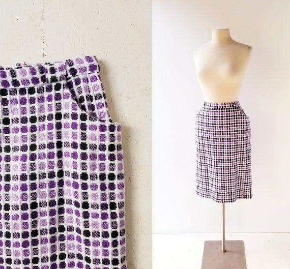 Vintage 1960s Skirt | Warp and Weft | Purple Skirt | 31″ Waist