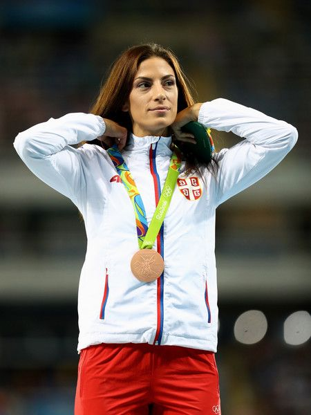 Bronze medalist, Ivana Spanovic of Serbia, poses on the podium during the medal ceremony for the Women's Long Jump on Day 13 of the Rio 2016 Olympic Games at the Olympic Stadium on August 18, 2016 in Rio de Janeiro, Brazil. - Decathalon - Olympics: Day 13