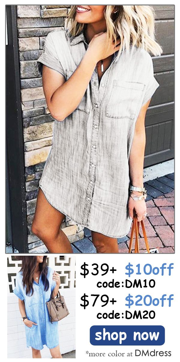 1beff0b62e1 Catch the trending style with this fashion denim blouse shirt dress.Explore  more at Dmdress