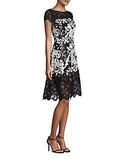 Kay Unger - Floral Jacquard A-line Dress
