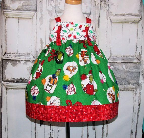 Grinch Christmas Knot Jumper Dress 12M 18M 2 3 4 5 by thatssoaddie