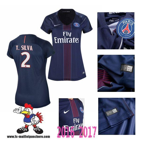 Vente Nouveau Maillot Football Paris Saint-Germain Bleu Femme (T SILVA 2)…