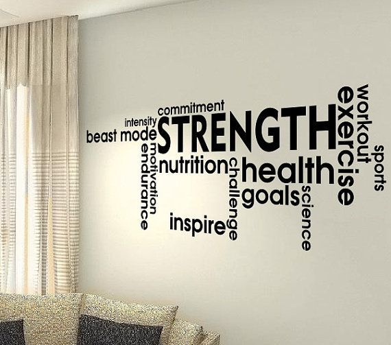 cool Strength Fitness Words Life Gym Fitness Motivational Workout Family Quote wall vinyl decals stickers Art Decor Bedroom Home  Wall Graphics