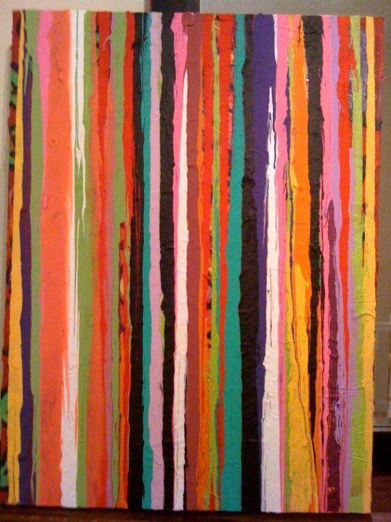Fruit Stripe Painting Folk Art Self-Taught