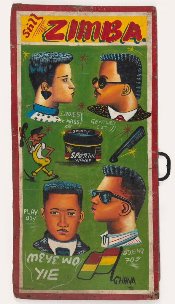 """Barbershop Sign  20th Century  Unidentified Artist paint on panel 47 3/4 in""""H x 24 in""""W"""