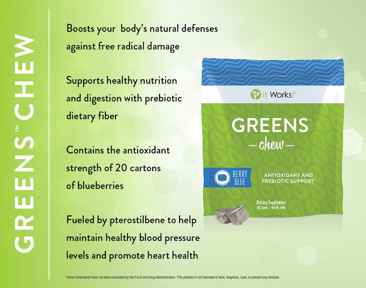 Greens Chew! Yummy...antioxidant power of 20 cartons of blueberries and has pre-biodics in it.  Helps with your digestive system as well.