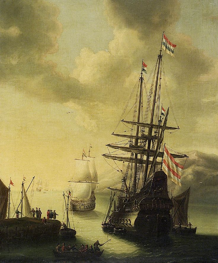 """""""Dutch Men-of-War in Harbour"""" by J. Browne (1650-1655) at the National Maritime Museum, London - From the curators' comments: """"The ship in the foreground, to the right of the picture, lies at anchor in stern and port-side view, with small craft delivering supplies....A small boat in the foreground, to the left, is full of people and a man in the prow holds a boathook, indicating that it is preparing to go alongside the man-of-war."""""""