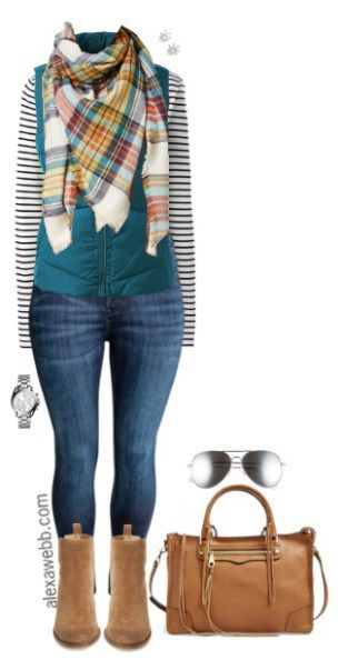 Plus Size Mixed Patterns Outfit 17