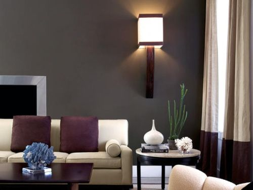 Charcoal Accent Wall And Neutral Furniture Love The Curtains Purple Pillows Too Living Room