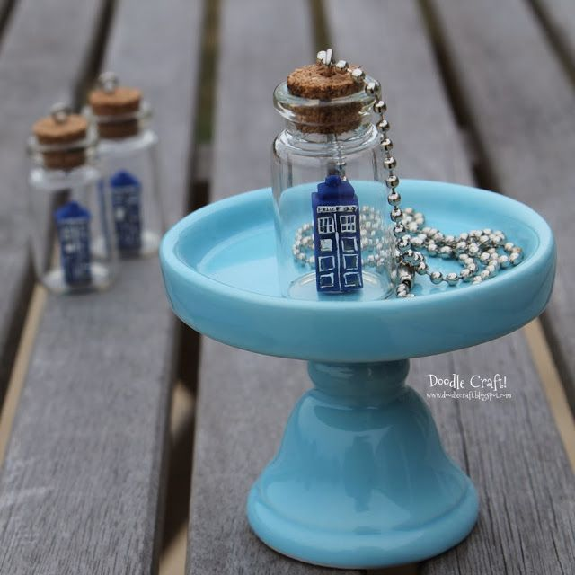 Doctor Who Tardis in a Bottle Necklace! Cute Gift idea. Could put other things in bottles too!
